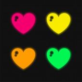 Big Heart čtyři barvy zářící neonový vektor ikona