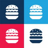 Big Hamburger blau und rot vier Farben minimales Symbol-Set