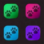 Zvíře Vytiskne čtyři barevné skleněné tlačítko ikona