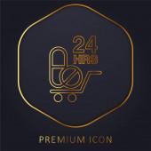 24 Stunden Drugs Delivery goldene Linie Premium-Logo oder Symbol