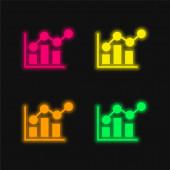 Panel Graf čtyři barvy zářící neonový vektor ikona