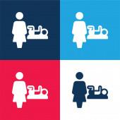Baby Change blau und rot vier Farben minimales Symbol-Set