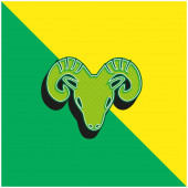 Aries Zodiac Symbol Of Frontal Goat Head Green and yellow modern 3d vector icon logo