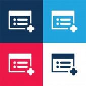 Web-Seite hinzufügen blau und rot vier Farben minimalen Symbolsatz