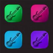 Basszusgitár négy színű üveg gomb ikon