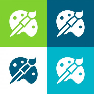 Artist Tools Flat four color minimal icon set stock vector