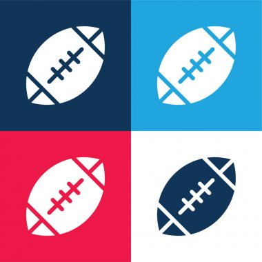 American Football blue and red four color minimal icon set stock vector