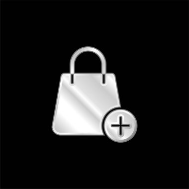 Bag silver plated metallic icon stock vector