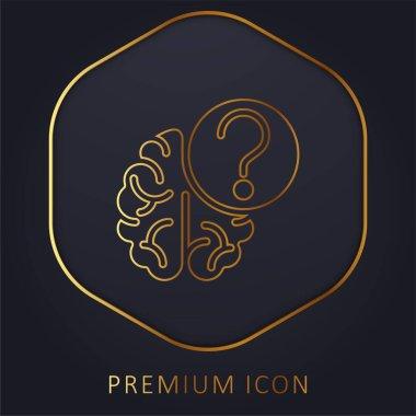 Brain golden line premium logo or icon stock vector