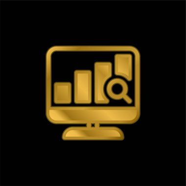Analytics gold plated metalic icon or logo vector stock vector