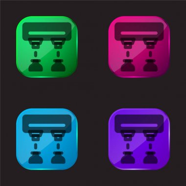 Assembly Line four color glass button icon stock vector