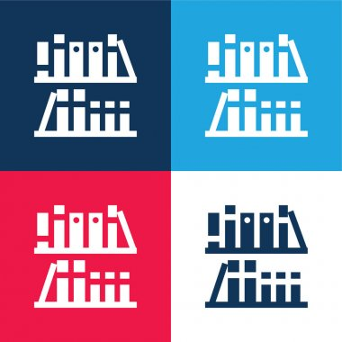 Bookshelf blue and red four color minimal icon set stock vector