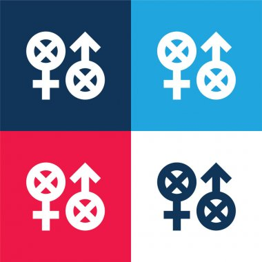 Biphobia blue and red four color minimal icon set