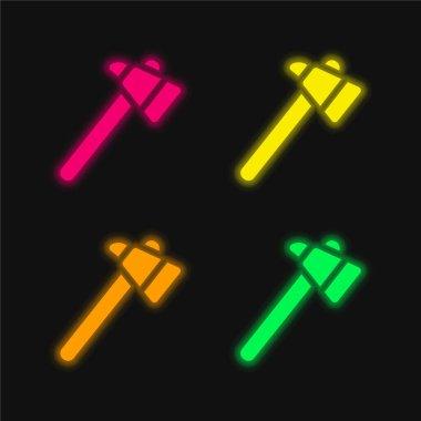 Ax four color glowing neon vector icon stock vector