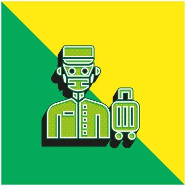 Bell Boy Green and yellow modern 3d vector icon logo stock vector