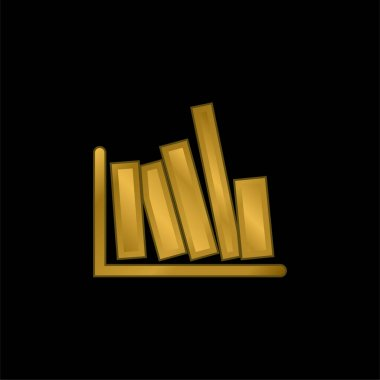 Books Side View gold plated metalic icon or logo vector stock vector