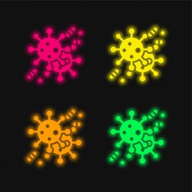 Bakteri dört renk parlayan neon vektör simgesi