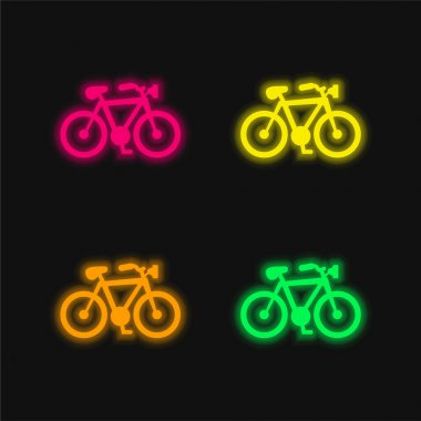 Bike Shape four color glowing neon vector icon