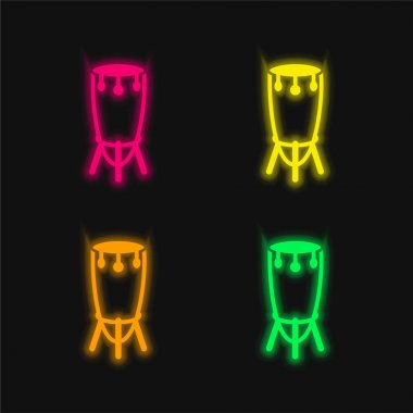 African Tall Drum With Stand four color glowing neon vector icon stock vector