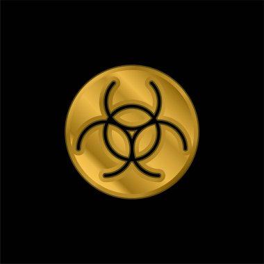 Biyolojik Tehlike altın kaplama metalik simge veya logo vektörü