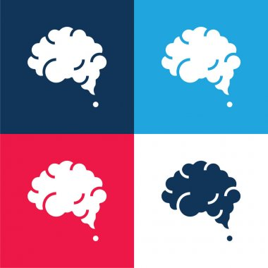 Brain blue and red four color minimal icon set stock vector