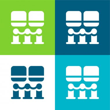 Art Museum Flat four color minimal icon set stock vector