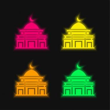 Al Aqsa Mosque four color glowing neon vector icon