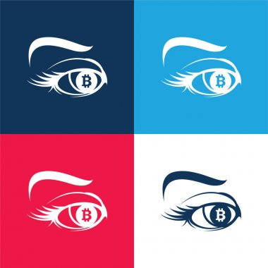 Bitcoin Sign In Eye Iris blue and red four color minimal icon set stock vector