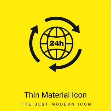 24 Hours Earth Grid Symbol With Arrows Circle Around minimal bright yellow material icon stock vector