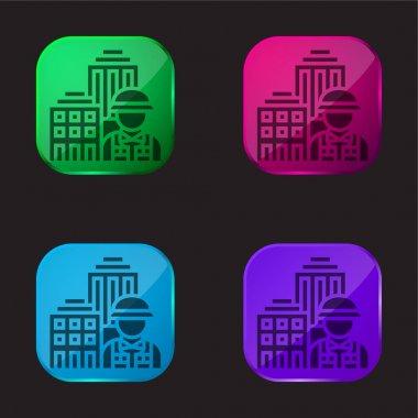 Architecture four color glass button icon