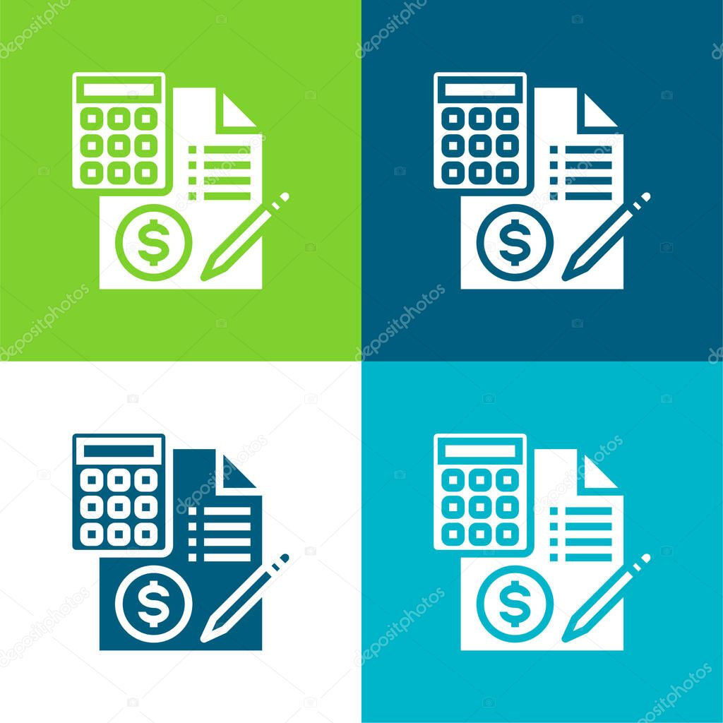 Accounting Flat four color minimal icon set stock vector