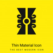 Kunsthandwerklicher Stein Mexikos minimales leuchtend gelbes Symbol