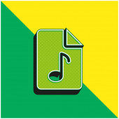 Audio File Green and yellow modern 3d vector icon logo