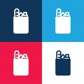 Taška modrá a červená čtyři barvy minimální ikona nastavena