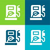 Biokraftstoff Flach vier Farben minimalen Symbolsatz