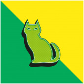 Black Evil Cat Green and yellow modern 3d vector icon logo