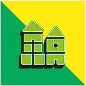 Blokovat zelené a žluté moderní 3D vektorové logo