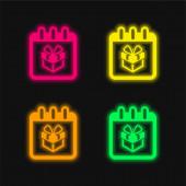 Narozeniny Giftbox Na připomenutí Kalendář Strana čtyři barvy zářící neonový vektor ikona