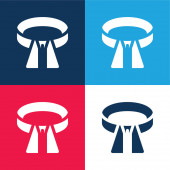 Öv kék és piros négy szín minimális ikon készlet