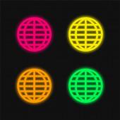 Big Globe rács négy színű izzó neon vektor ikon