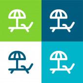 Strand szék Lapos négy szín minimális ikon készlet
