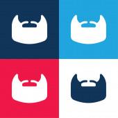 Bart blau und rot vier Farben minimales Symbol-Set