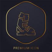 Boot goldene Linie Premium-Logo oder Symbol