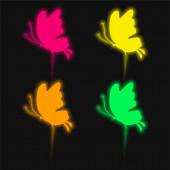 Schöne Schmetterling Silhouette vier Farben leuchtenden Neon-Vektor-Symbol