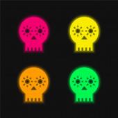 Kunsthandwerkliche Totenkopf von Mexiko vier Farbe glühende Neon-Vektor-Symbol