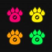 Zvířata povolena čtyři barevné zářící neonový vektor ikona