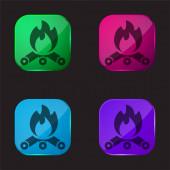 Lagerfeuer vier farbige Glasknopf-Symbol