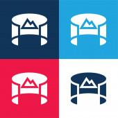 360 Tekintse meg a kék és piros négy szín minimális ikon készlet