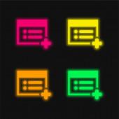 Přidat na webovou stránku čtyřbarevnou zářící ikonu neonového vektoru