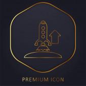 Aufsteigende Rocket goldene Linie Premium-Logo oder Symbol